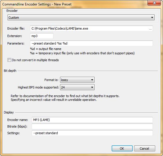 Добавление нового пресета для MP3 в конвертер foobar2000